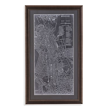 Brayden Studio Graphic Map of Boston Framed Graphic Art