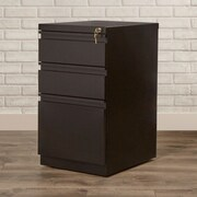 Brayden Studio Drew 3 Drawer Mobile Pedestal File Cabinet; Black