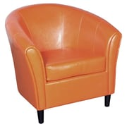 Brayden Studio Karp Barrel Bonded Leather Lounge Chair; Orange