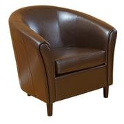 Brayden Studio Karp Barrel Bonded Leather Lounge Chair; Brown
