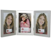 Brayden Studio Ponce Hinged Triple Picture Frame; Brushed Satin Silver