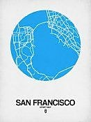 Naxart 'San Francisco Street Map Blue' Graphic Art Print on Canvas; 16'' H x 12'' W x 1.5'' D
