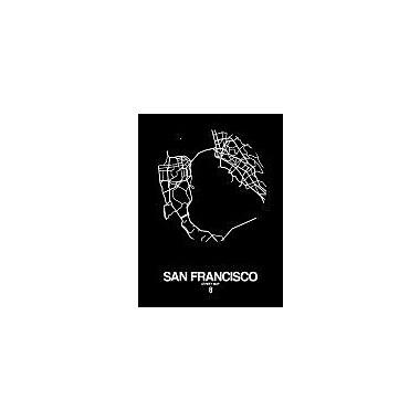 Naxart 'San Francisco Street Map Black' Graphic Art Print on Canvas; 16'' H x 12'' W x 1.5'' D