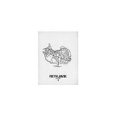 Naxart 'Reykjavik Street Map White' Graphic Art Print on Canvas; 24'' H x 18'' W x 1.5'' D