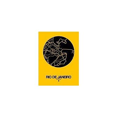 Naxart 'Rio de Janeiro Street Map Yellow' Graphic Art Print on Canvas; 40'' H x 30'' W x 1.5'' D