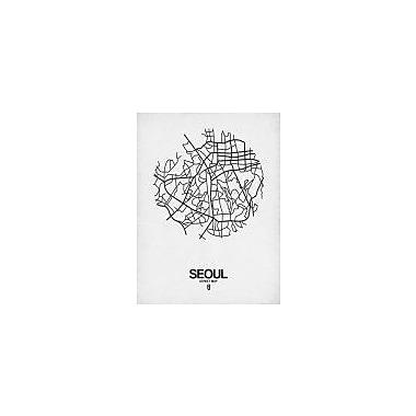 Naxart 'Seoul Street Map White' Graphic Art Print on Canvas; 32'' H x 24'' W x 1.5'' D