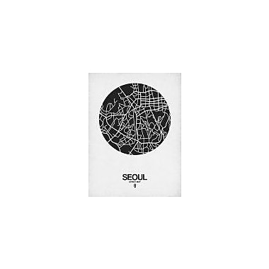 Naxart 'Seoul Street Map Black on White' Graphic Art Print on Canvas; 32'' H x 24'' W x 1.5'' D