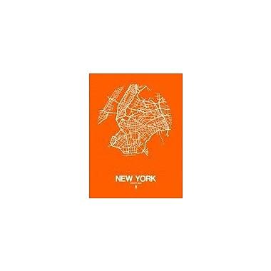 Naxart 'New York Street Map Orange' Graphic Art Print on Canvas; 32'' H x 24'' W x 1.5'' D