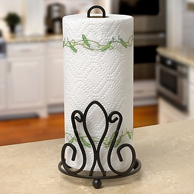 Fleur De Lis Living Cynthia Paper Towel Holder; Black