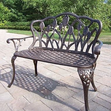 Brayden Studio Farrior Aluminum Garden Bench; Antique Bronze