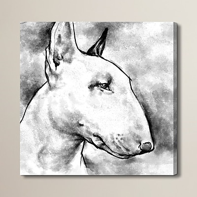 Brayden Studio Bull Terrier Painting Print on Wrapped Canvas; 16'' H x 16'' W x 1.5'' D