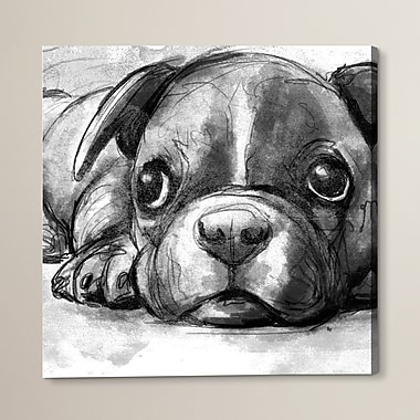 Brayden Studio Boston Terrier Painting Print on Wrapped Canvas; 12'' H x 12'' W x 1.5'' D
