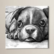 Brayden Studio Boston Terrier Painting Print on Wrapped Canvas; 50'' H x 50'' W x 2'' D