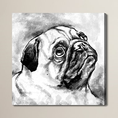 Brayden Studio Pug Painting Print on Wrapped Canvas; 12'' H x 12'' W x 1.5'' D