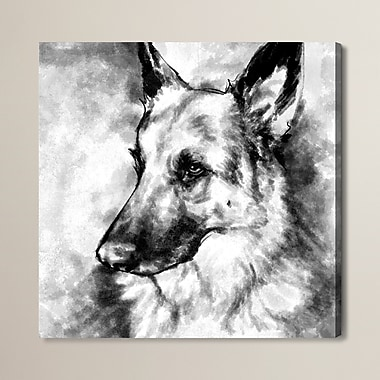 Brayden Studio German Shepherd Framed Painting Print; 12'' H x 12'' W x 1.5'' D