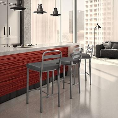 Brayden Studio Prescott 30.13'' Bar Stool; Glossy Grey/Matte Charcoal Black