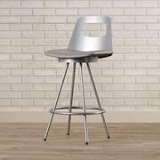 Brayden Studio Oliveira 26'' Swivel Bar Stool; Glossy Grey/Cold Grey