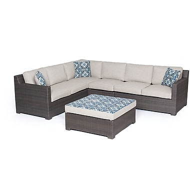 Brayden Studio Abraham 5 Piece Lounge Seating Group w/ Cushion; Silver Lining