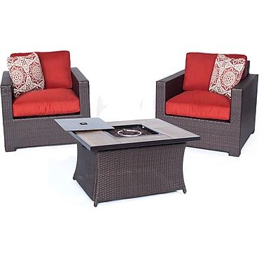 Brayden Studio Abraham 3 Piece Deep Seating Group w/ Cushion; Autumn Berry