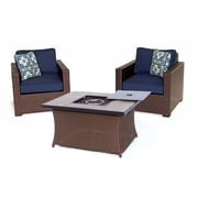 Brayden Studio Abraham 3 Piece Deep Seating Group w/ Cushion; Navy Blue