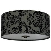 Brayden Studio Olivo 16'' Silk Drum Pendant Shade; Gray Decadence
