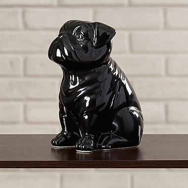 Brayden Studio Smooth and Shiny Ceramic Sitting Bull Dog Figurine