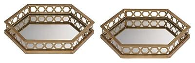 Brayden Studio Ribbed Hexagonal Mirrored Tray (Set of 2) WYF078280261340