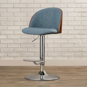 Brayden Studio Pitcock Adjustable Height Swivel Bar Stool; Blue Noise