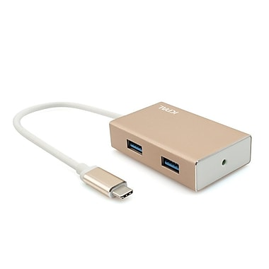 JCPal USB-C 4 Port USB Hub Adapter, Gold (JCP6090)