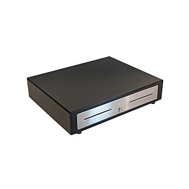 APG Vasario 19x15 Cash Drawer, 24V Interface, Black Stainless Steel Front, 5 Bill 5 Coin till, Cable Required