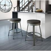 Brayden Studio Dealba 30'' Swivel Bar Stool; Glossy Grey/Matte Charcoal Black