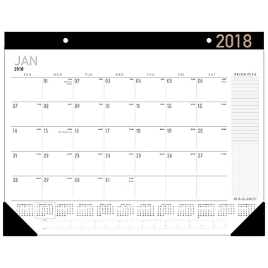 2018 At A Glance Contemporary Monthly Desk Pad Calendar 21 3