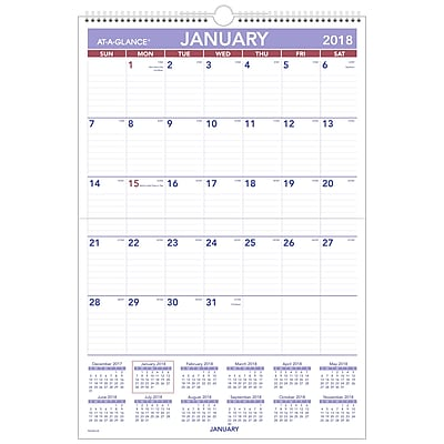 2018 AT-A-GLANCE® Monthly Wall Calendar, Erasable, January 2018 - December 2018, 15-1/2