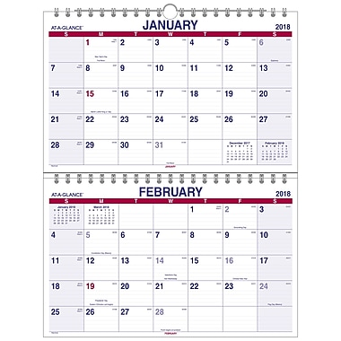 2018 At A Glance 174 Two Month Wall Calendar January 2018