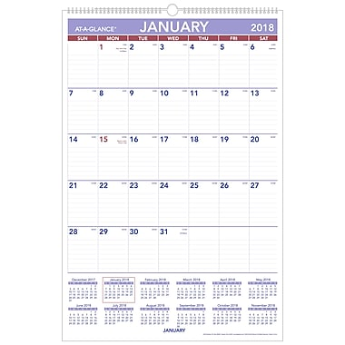 2018 AT A GLANCE® Monthly Wall Calendar, January 2018   December 2018