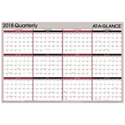"2018 AT-A-GLANCE® Vert/Hor Erasable Quarterly Wall Planner, Reversible, 12 Months, January Start, 36""x24"", Red/Black (A123-18)"