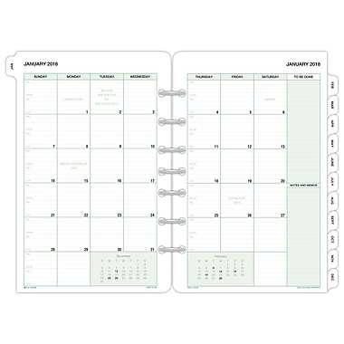 2018 Day-Timer® Classic Two Page Per Month Refill, Loose-Leaf,