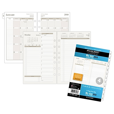 2018 AT-A-GLANCE® Day Runner Two Page Per Day Refill, Loose-Leaf, Size 4, 5-1/2
