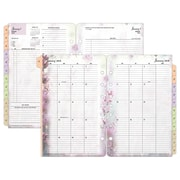 "2018 Franklin Covey® Blooms Two Page Per Day Planner Refill, Loose-Leaf, 5-1/2"" x 8-1/2"""