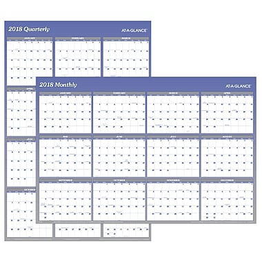 2018 AT-A-GLANCE® Vertical/Horizontal Erasable Yearly Wall Calendar, Reversible, 48