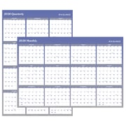 "2018 AT-A-GLANCE® Vertical/Horizontal Erasable Yearly Wall Calendar, Reversible, 48""x32"", Blue (A1152-18)"