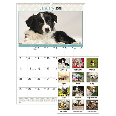 2018 AT-A-GLANCE® Puppies Monthly Wall Calendar, 12 Months, January Start, 15 1/2