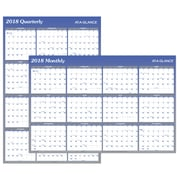 "2018 AT-A-GLANCE® Vertical/Horizontal Erasable Yearly Wall Calendar, Reversible, 36""x24"", Blue (A1102-18)"