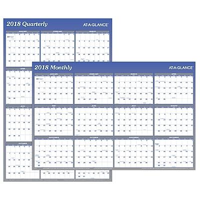 2018 AT-A-GLANCE® Vertical/Horizontal Erasable Yearly Wall Calendar, Reversible, 36