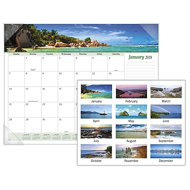 2018 AT-A-GLANCE® Seascape Panoramic Monthly Desk Pad, 12 Months, January Start, 22