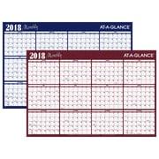 "2018 AT-A-GLANCE® Horizontal Erasable Yearly Wall Planner, Reversible, 12 Months, January Start, 48"" x 32"", Red/Blue (A152-18)"