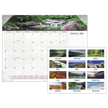 2018 AT-A-GLANCE® Landscape Panoramic Monthly Desk Pad, 12 Months, January Start, 22