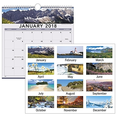 2018 AT-A-GLANCE® Recycled Landscape Monthly Wall Calendar, 12 Months, January Start, 12