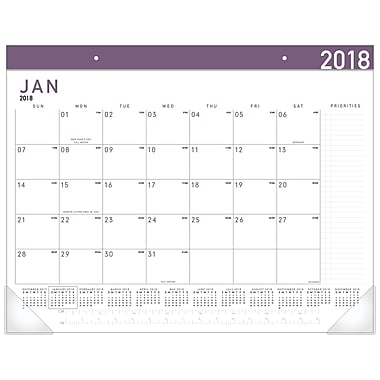2018 AT-A-GLANCE® Contemporary Monthly Desk Pad, 12 Months, January Start, 22