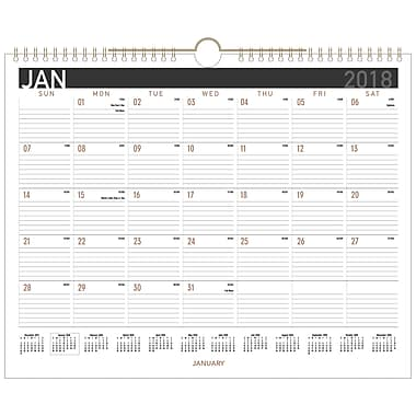 2018 AT-A-GLANCE® Black Paper Monthly Wall Calendar, 12 Months, January Start, 15